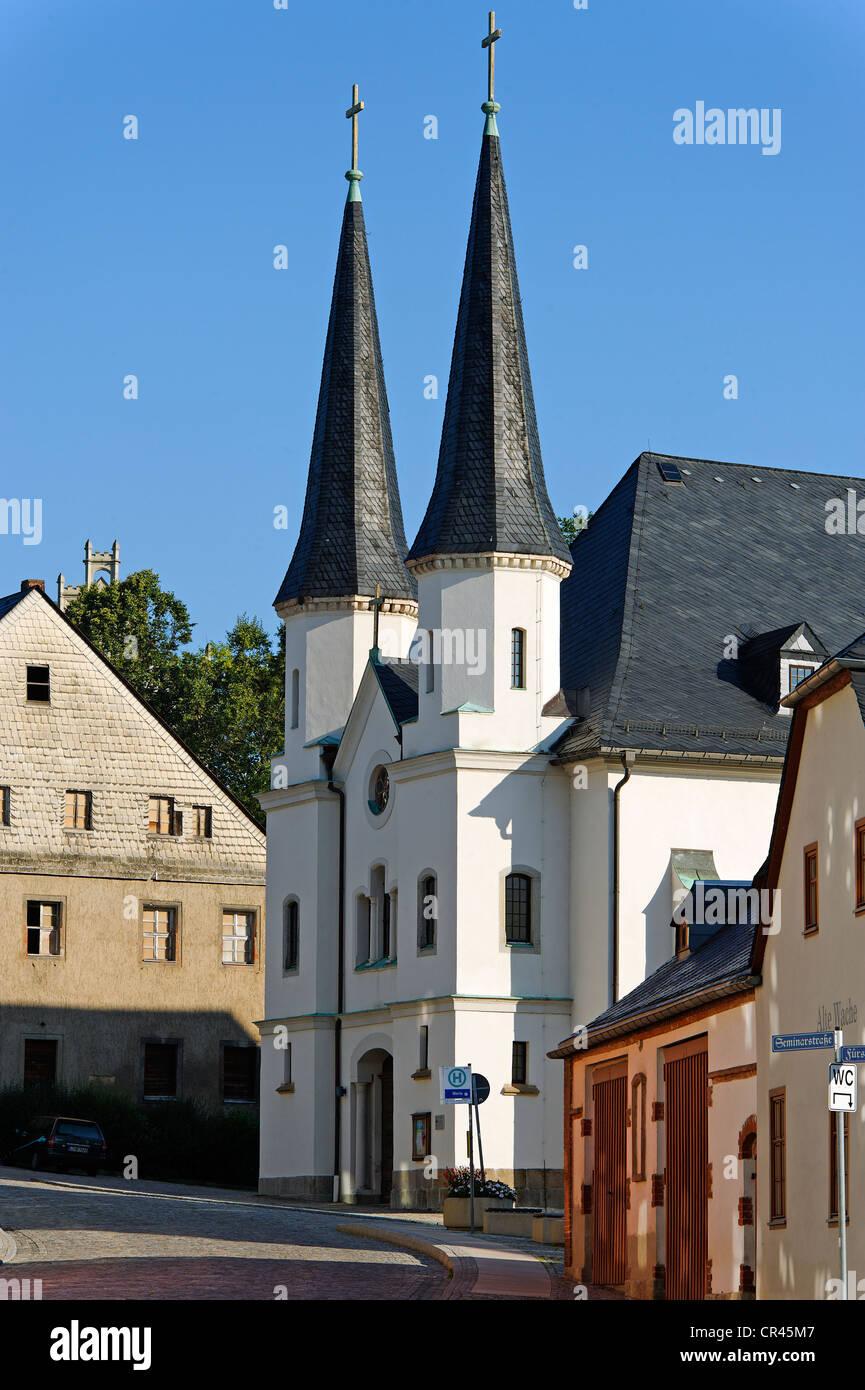 Église de l'hôpital de Saint Trinité, Schneeberg, Saxe, Allemagne, Europe Photo Stock