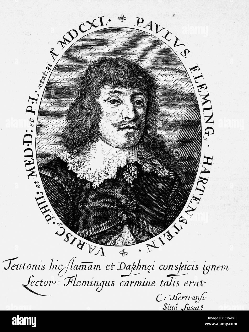 Paul Fleming (1609-1640), médecin et écrivain Photo Stock