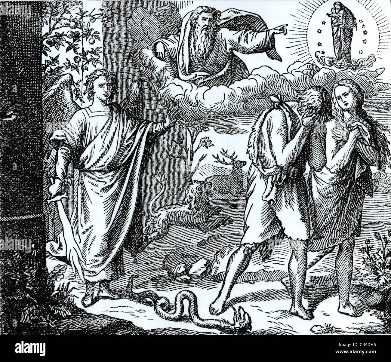 Expulsion du Paradis, gravure sur acier, 19. Siècle Photo Stock