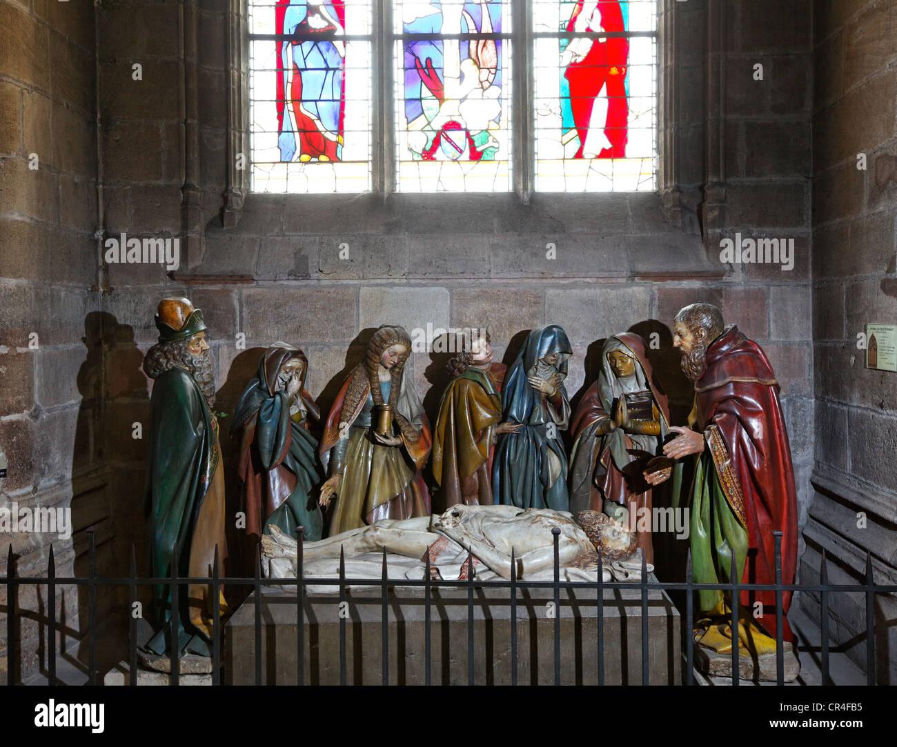 La mise au tombeau du Christ dans la Cathédrale de Moulins, Allier, Auvergne, France, Europe Banque D'Images