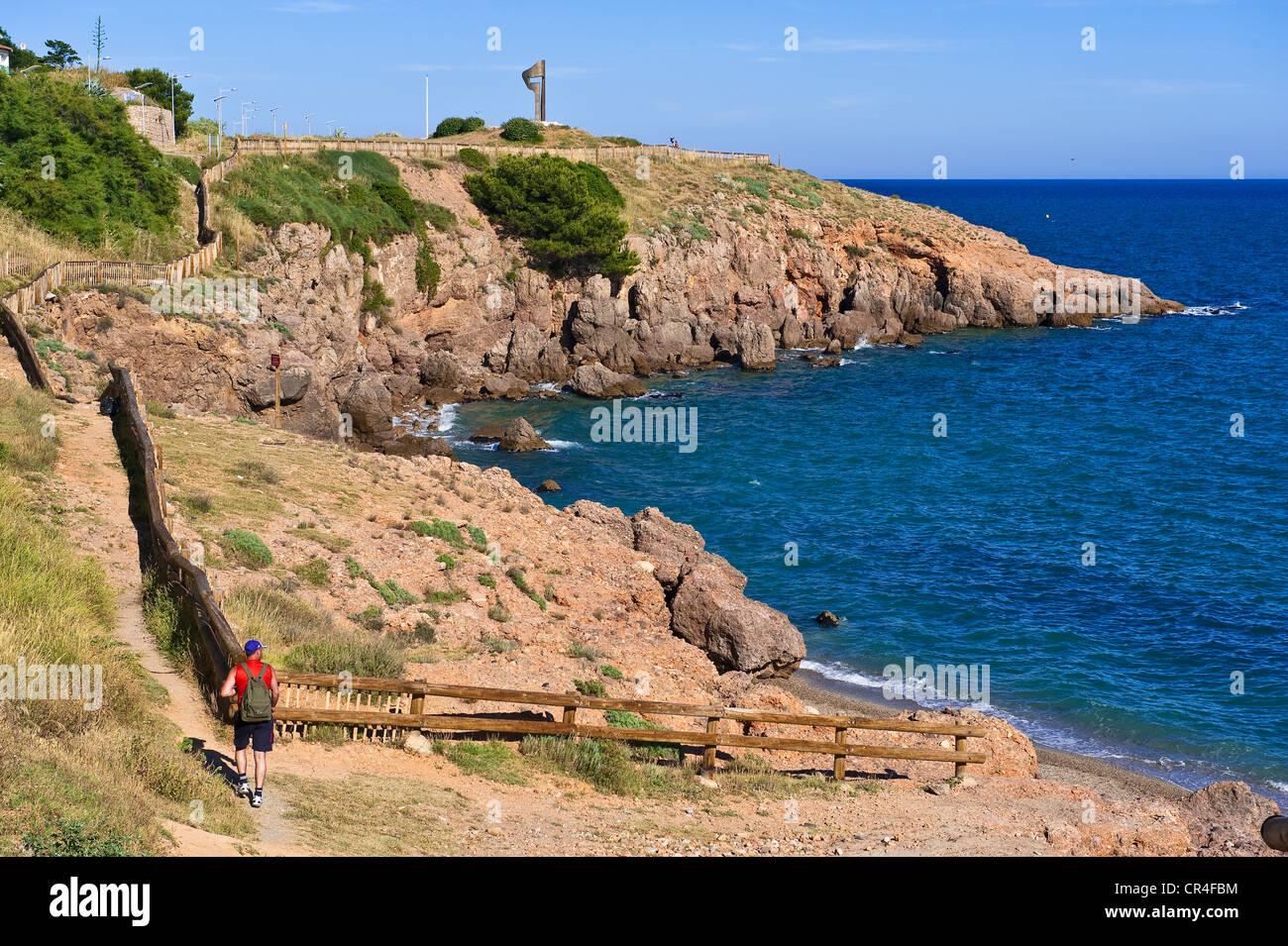 La France, l'Hérault, Sète, crique de la Nau, chemin du littoral sur la Corniche Photo Stock