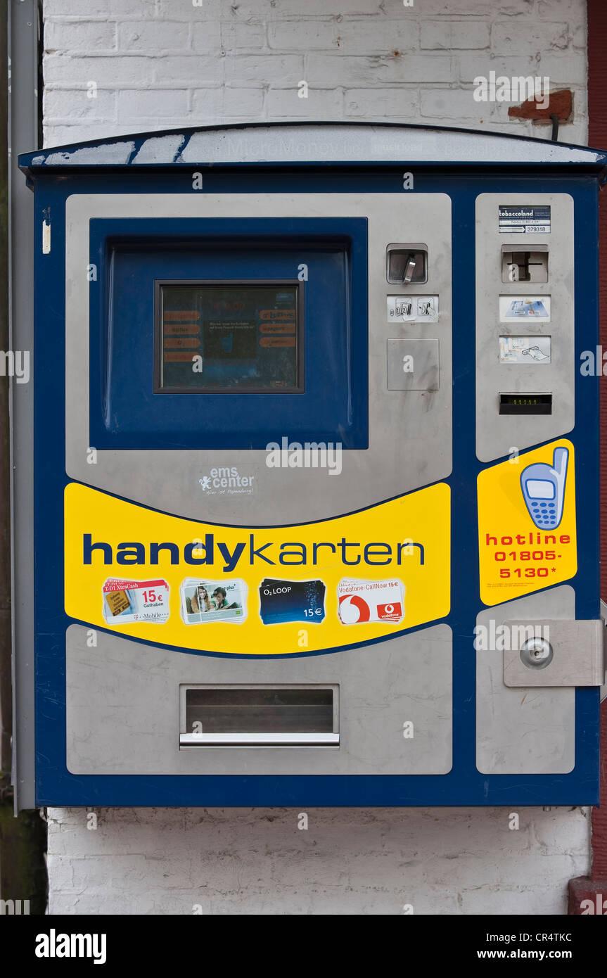 La machine pour les cartes prépayées de téléphone mobile, Papenburg, Basse-Saxe, Allemagne, Photo Stock