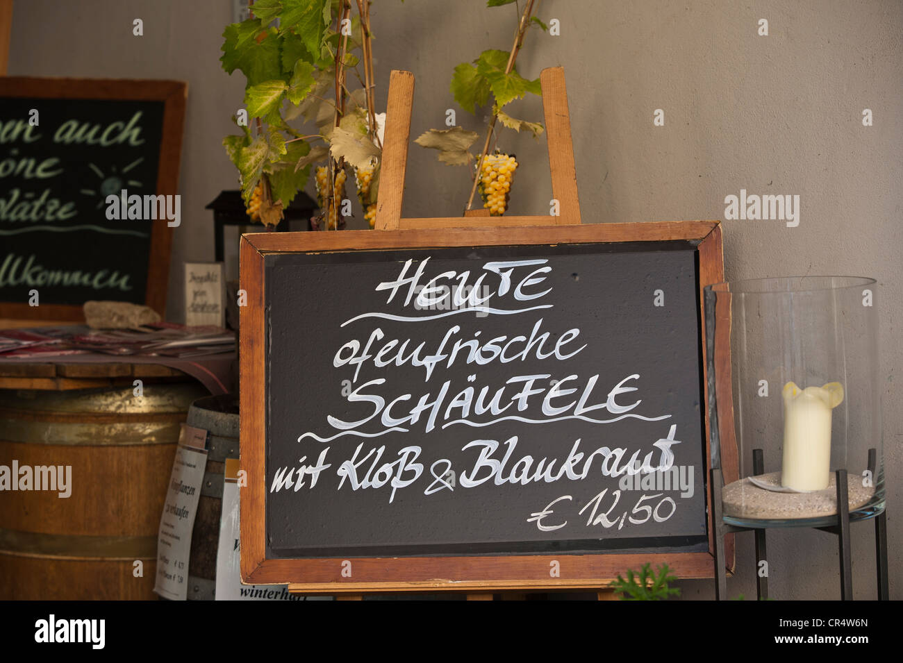 Panneau de menu, Volkach, en Basse-franconie, Franconia, Germany, Europe Photo Stock