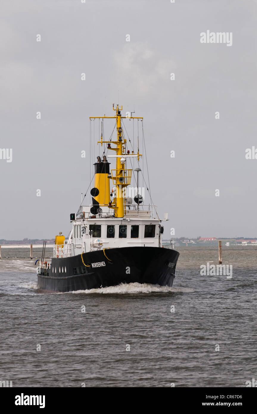 Sondage spécial navire 'Norderney', pour des sondages et des sondages dans la zone intertidale, Frise Photo Stock