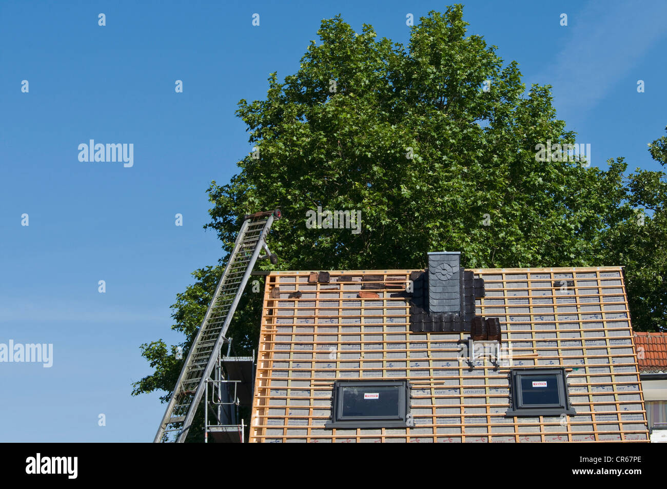 Toit exposé avec de nouveaux chevrons et un monte-charge, nouvelle construction du toit sur une maison, la Photo Stock