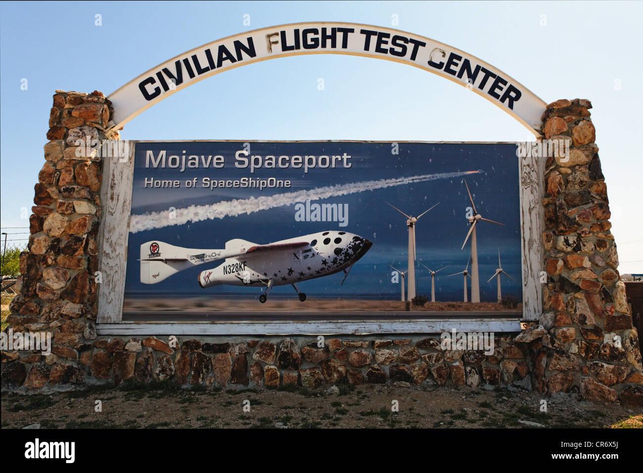 Panneau à l'entrée de l'air et Mojave Spaceport, Mojave, Californie Photo Stock