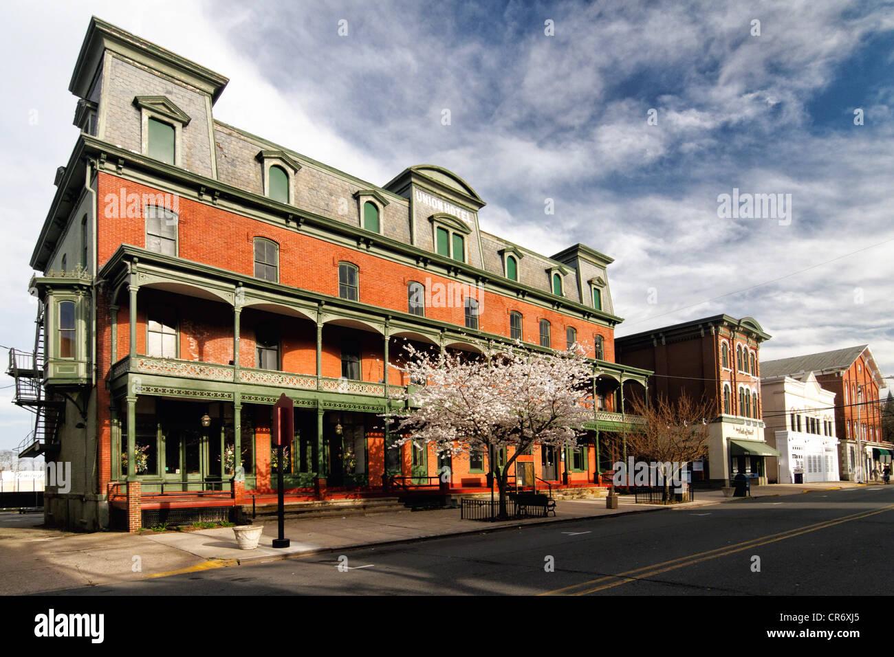 Voir l'historique de l'hôtel Union à Flemington, Hunterdon Comté (New Jersey) Photo Stock