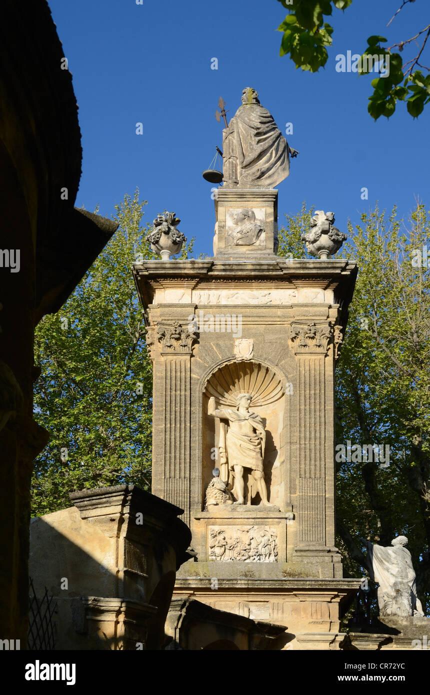Monument sec avec Statue d'Abraham Aix-en-Provence Provence France Photo Stock