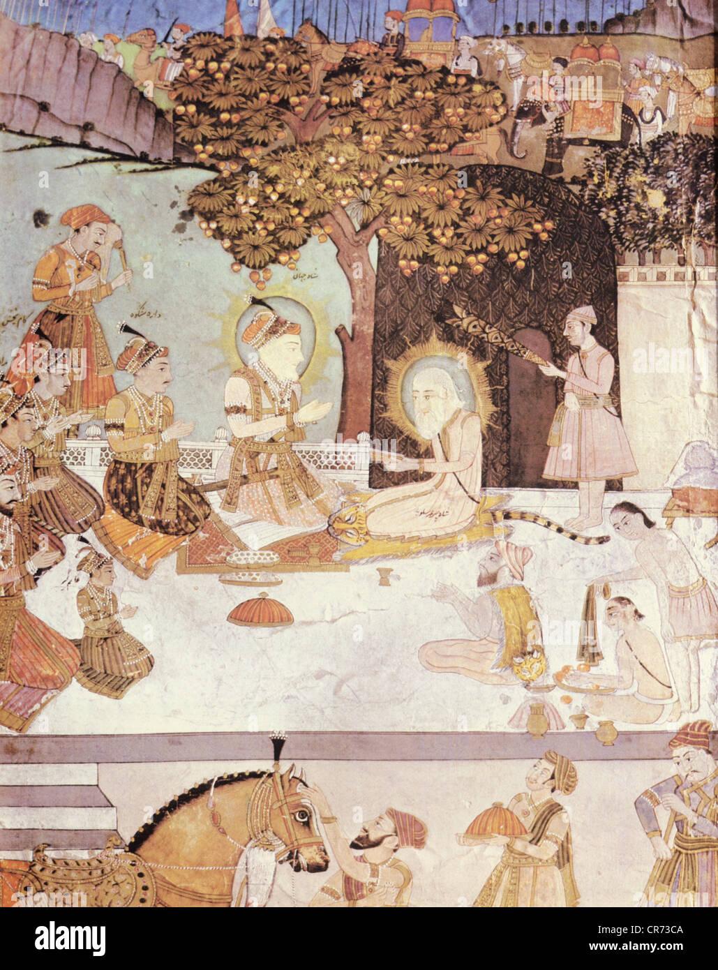 Shah Jahan, 5.1.1592 - 22.1.1666, l'empereur moghol de l'Inde 1627 - 1658, scène, Shah Jahan et son Photo Stock