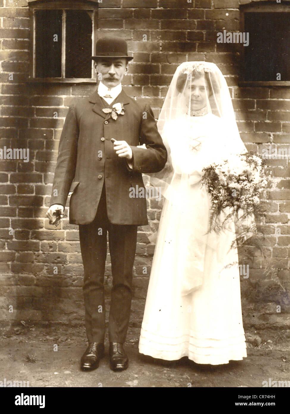 Portrait photographique du père et de l'épouse Photo Stock