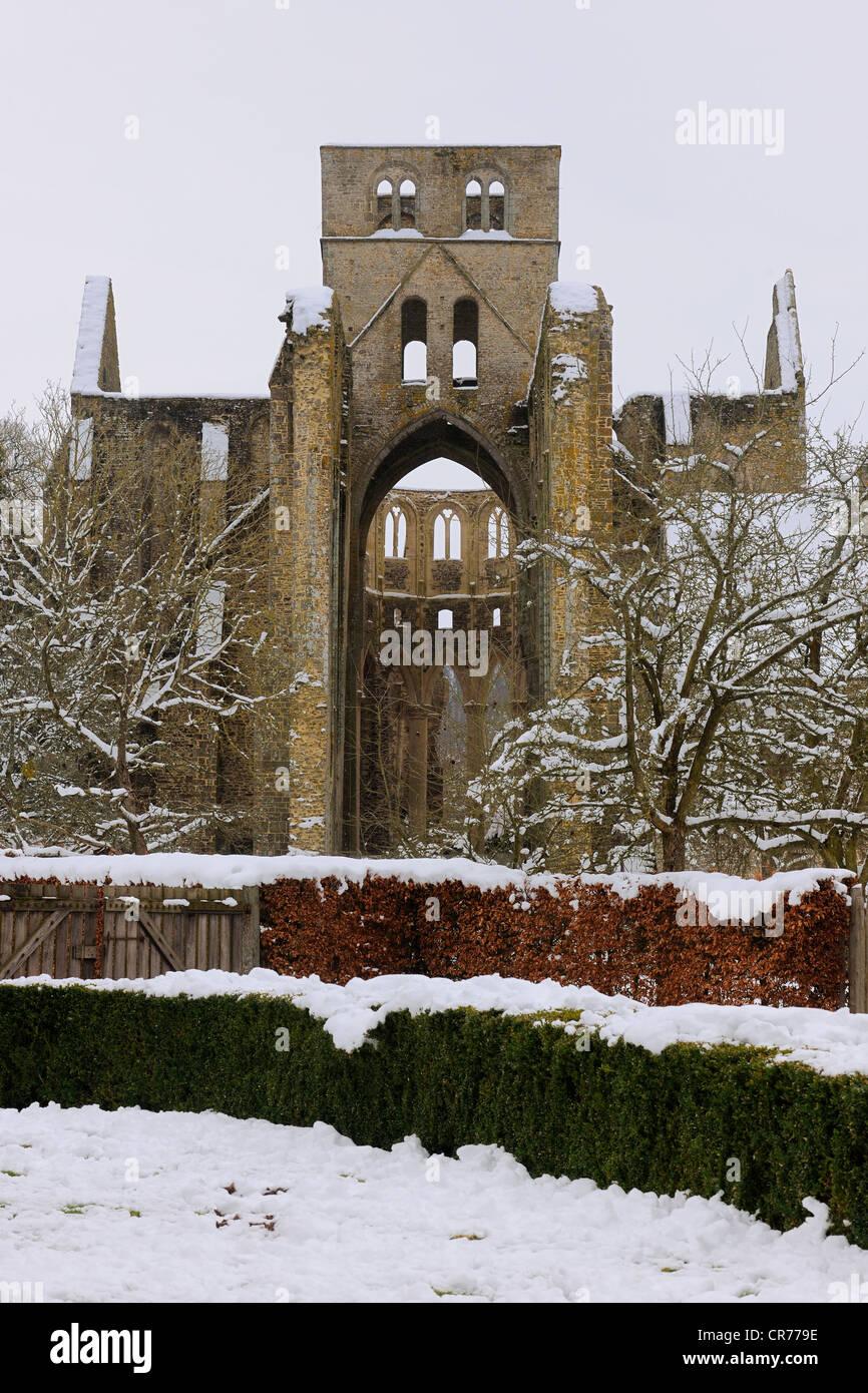 France, Manche, Cotentin, ruine de l'abbaye bénédictine de l'abbaye de Hambye Photo Stock