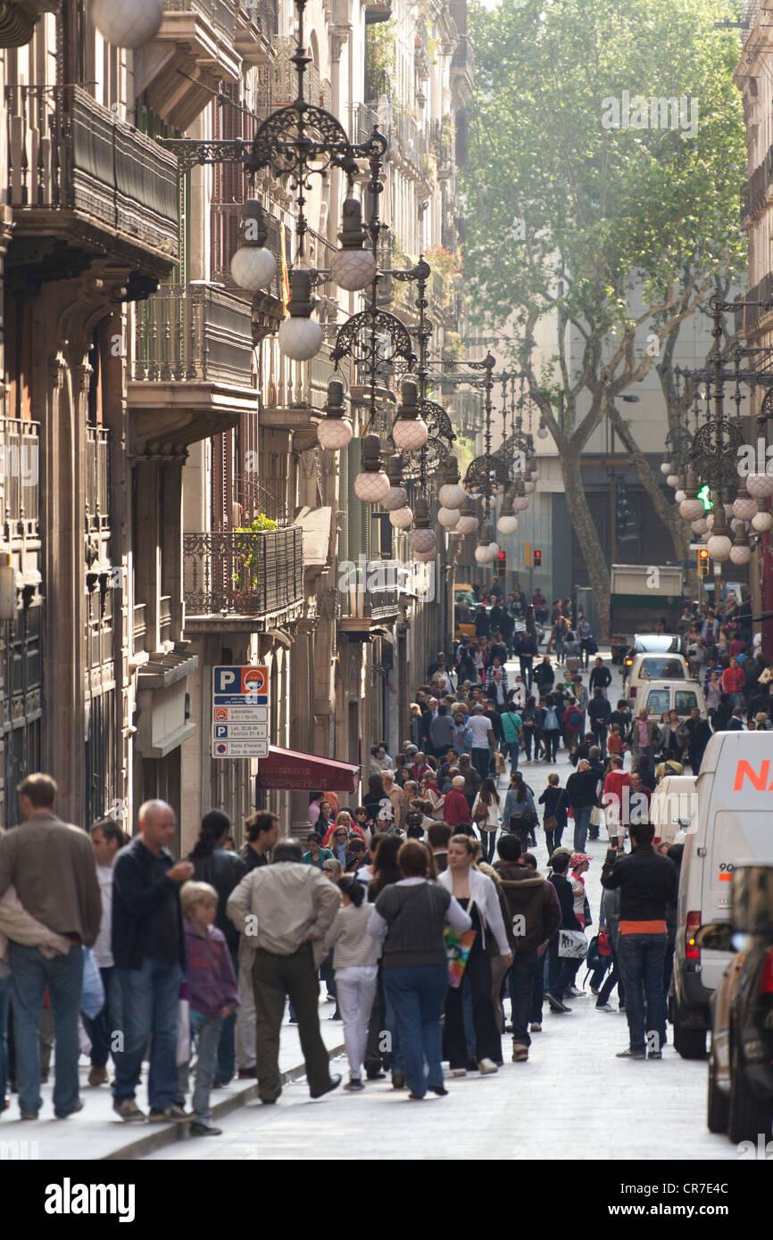 Les lampes de la rue, de style art nouveau, Via Laietana, Barcelone, Catalogne, Espagne, Europe Photo Stock