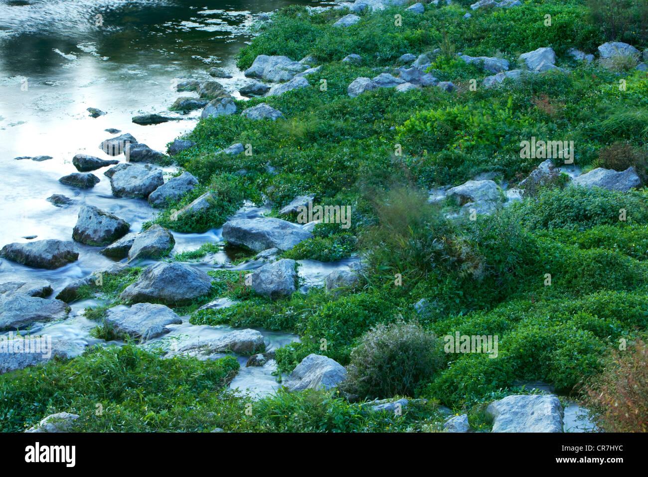 La France, l'Ardèche, l'aménagement paysager sur le vieux Rhône, près du barrage de Photo Stock