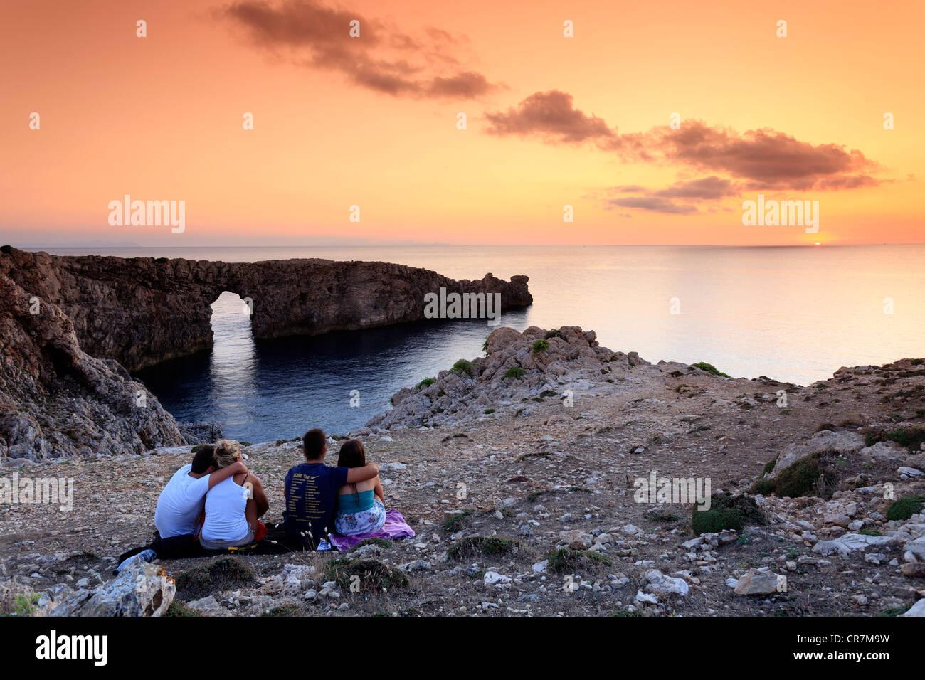 L'Espagne, Îles Baléares, Minorque (Menorca), Pont d'en Gil Photo Stock