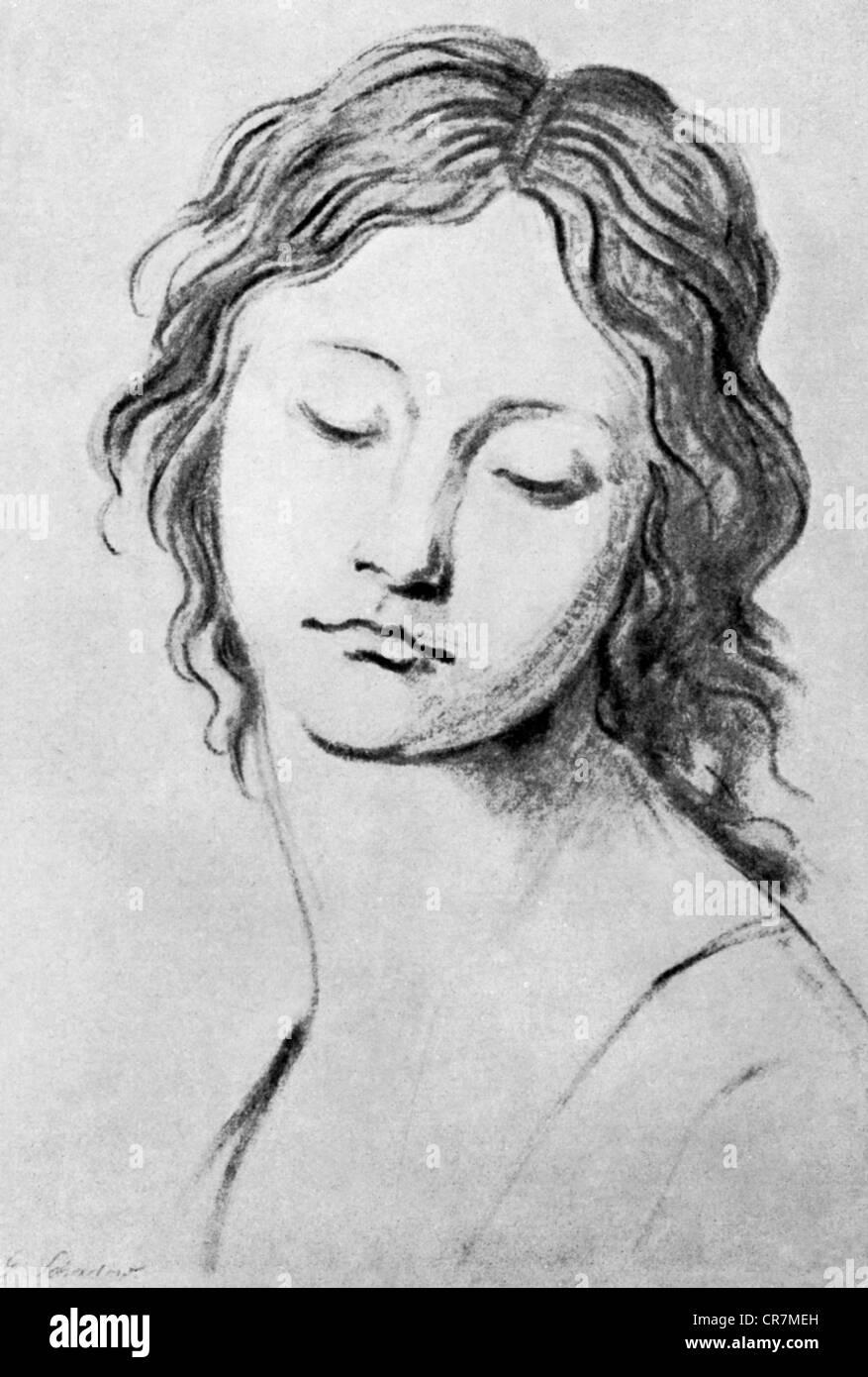 Schadow, Johann Gottfried, 20.5.1764 - 27.1.1850, sculpteur et graphiste allemand, œuvres, portrait d'une jeune Banque D'Images