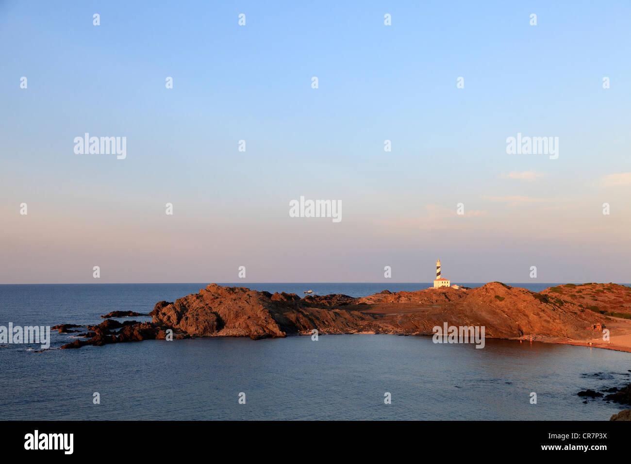 L'Espagne, Îles Baléares, Minorque, Cap de Favaritx Lighthouse Photo Stock