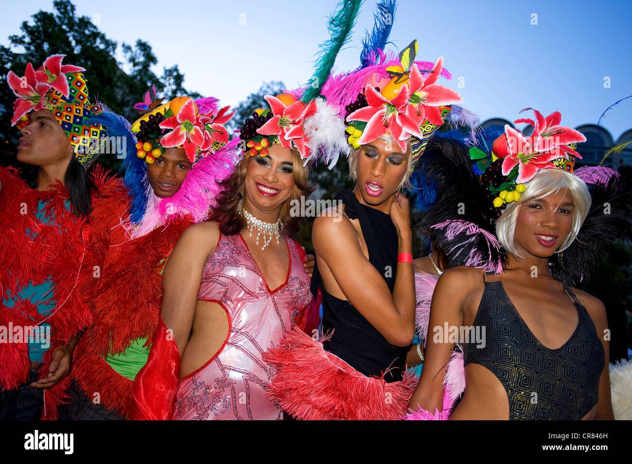 L'Afrique du Sud, Western Cape, Cape Town, Drag Queens pendant le carnaval Photo Stock