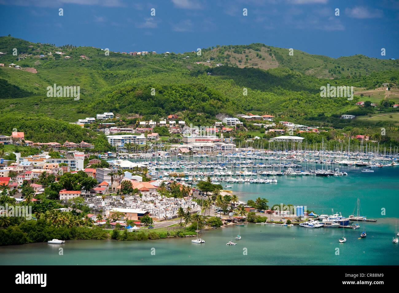 La France, à la Martinique (Antilles françaises), Marin Bay, vu du Morne Gommier Photo Stock