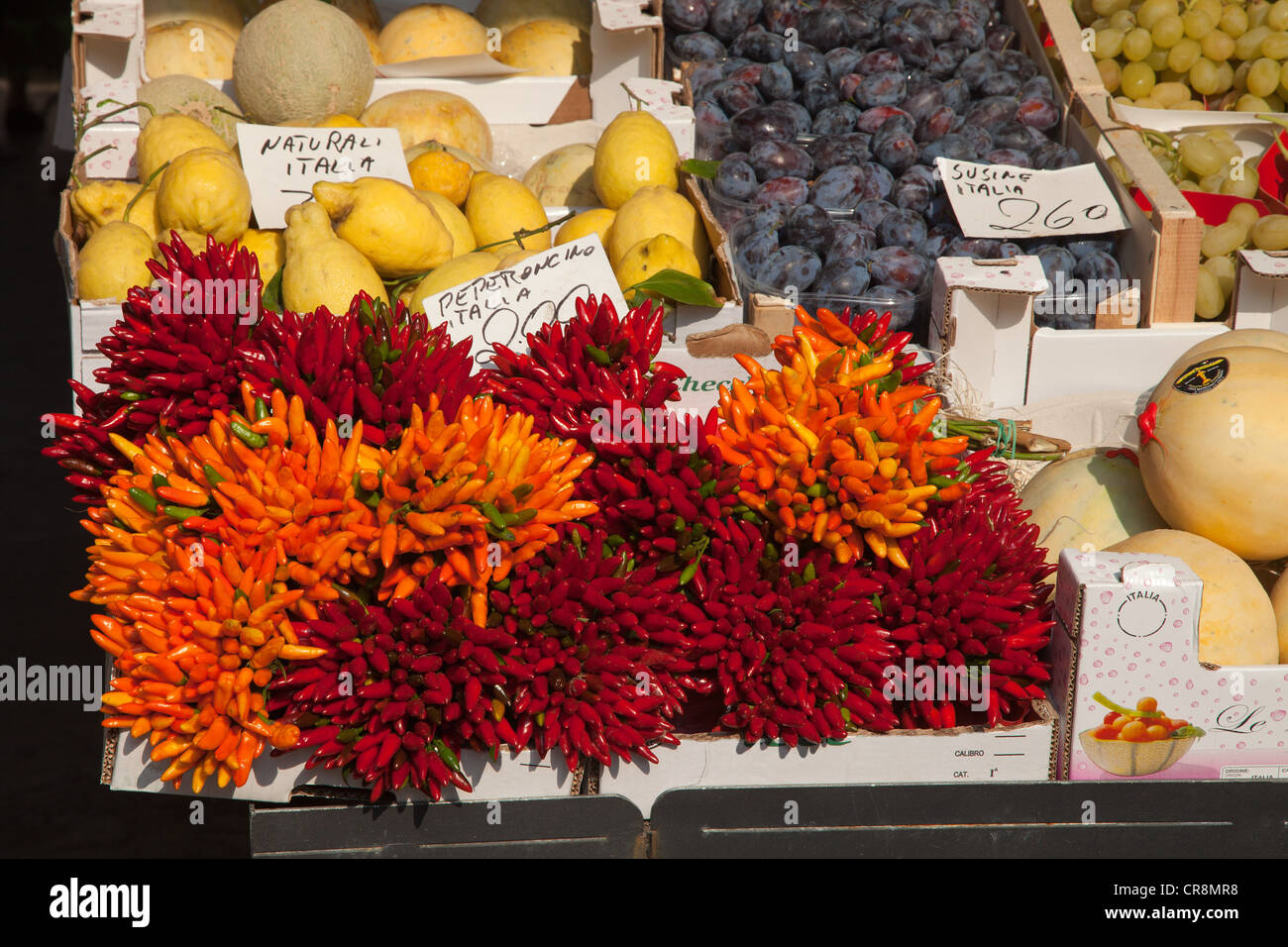 Chili Peppers pour la vente au marché du Rialto, Venise, Italie Photo Stock