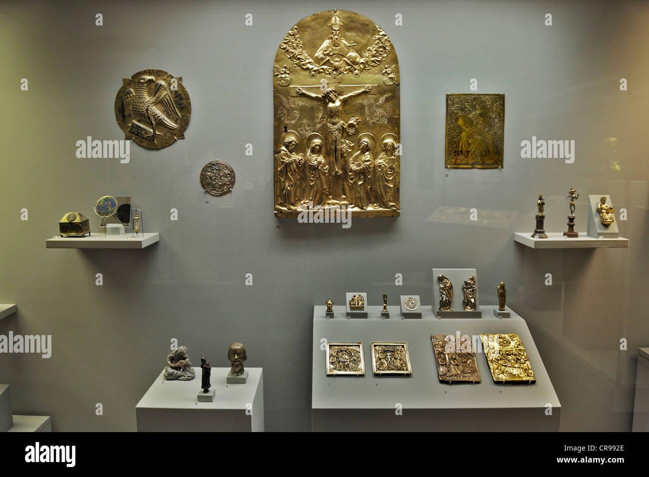 Trésors d'art religieux médiéval, bijoux et mesurer ustensiles, musée national bavarois, Photo Stock