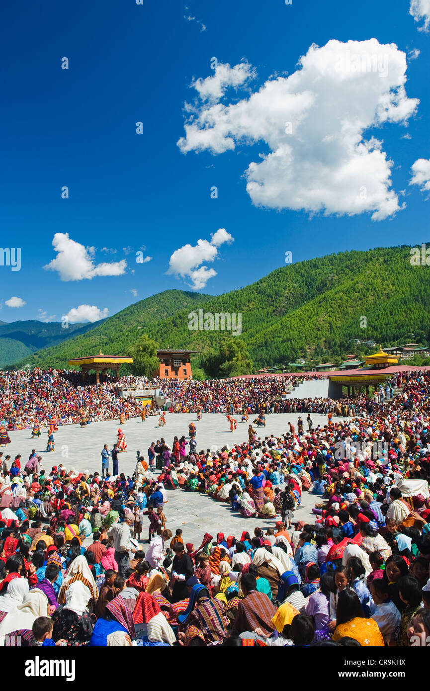 Tsechu festival d'automne à Trashi Chhoe Dzong, Thimphu, Bhoutan, Asie Photo Stock