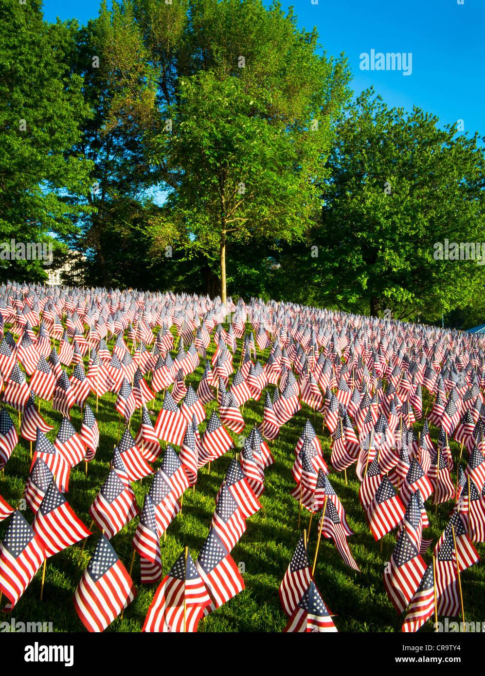 Les drapeaux sur Memorial Day à Boston Commons Photo Stock