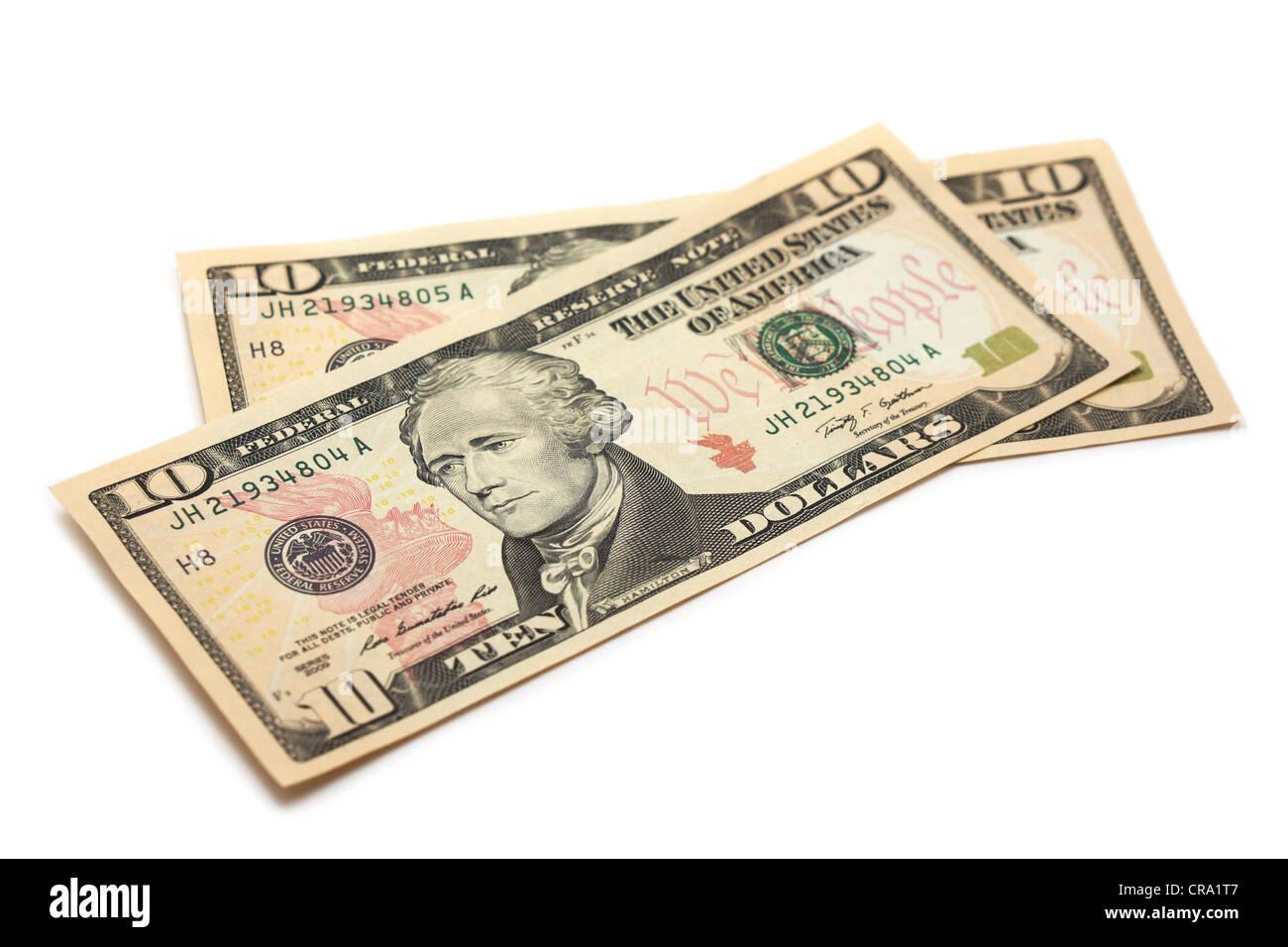 Billets d'un dollar, la monnaie américaine 10 Dollars Photo Stock