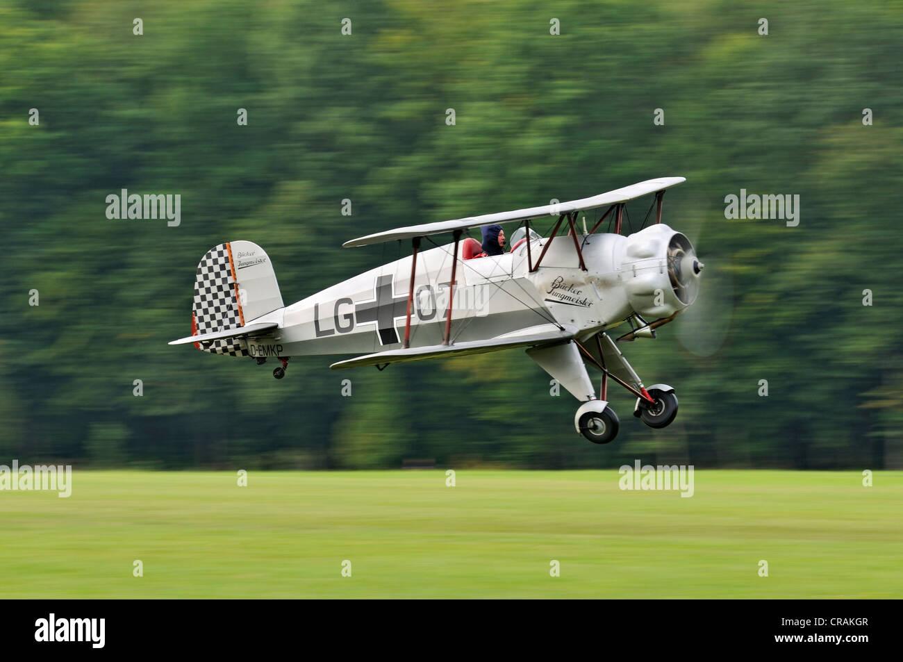 711-2-131 Jungmeister Buecker allemand biplan, premier vol en 1935, la plus grande réunion des aéronefs Photo Stock
