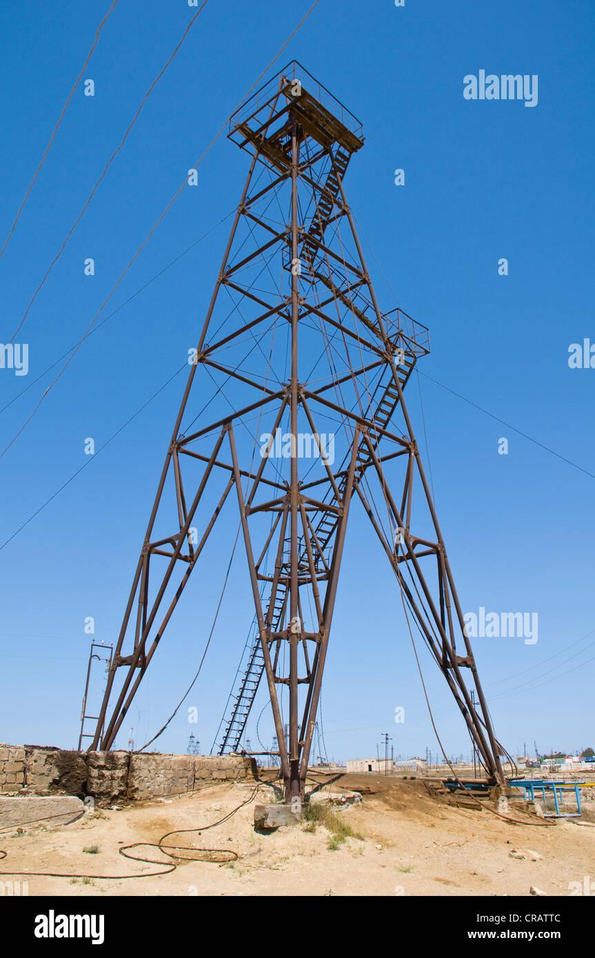 Champ de pétrole, industrie pétrolière sur la péninsule Abseron, Azerbaïdjan, Caucase, Photo Stock