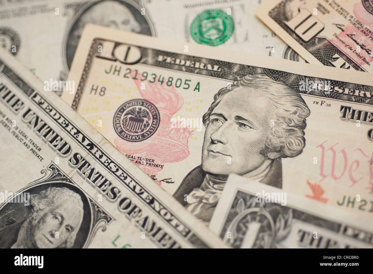Billets d'un dollar, la devise US Dollars Notes Photo Stock