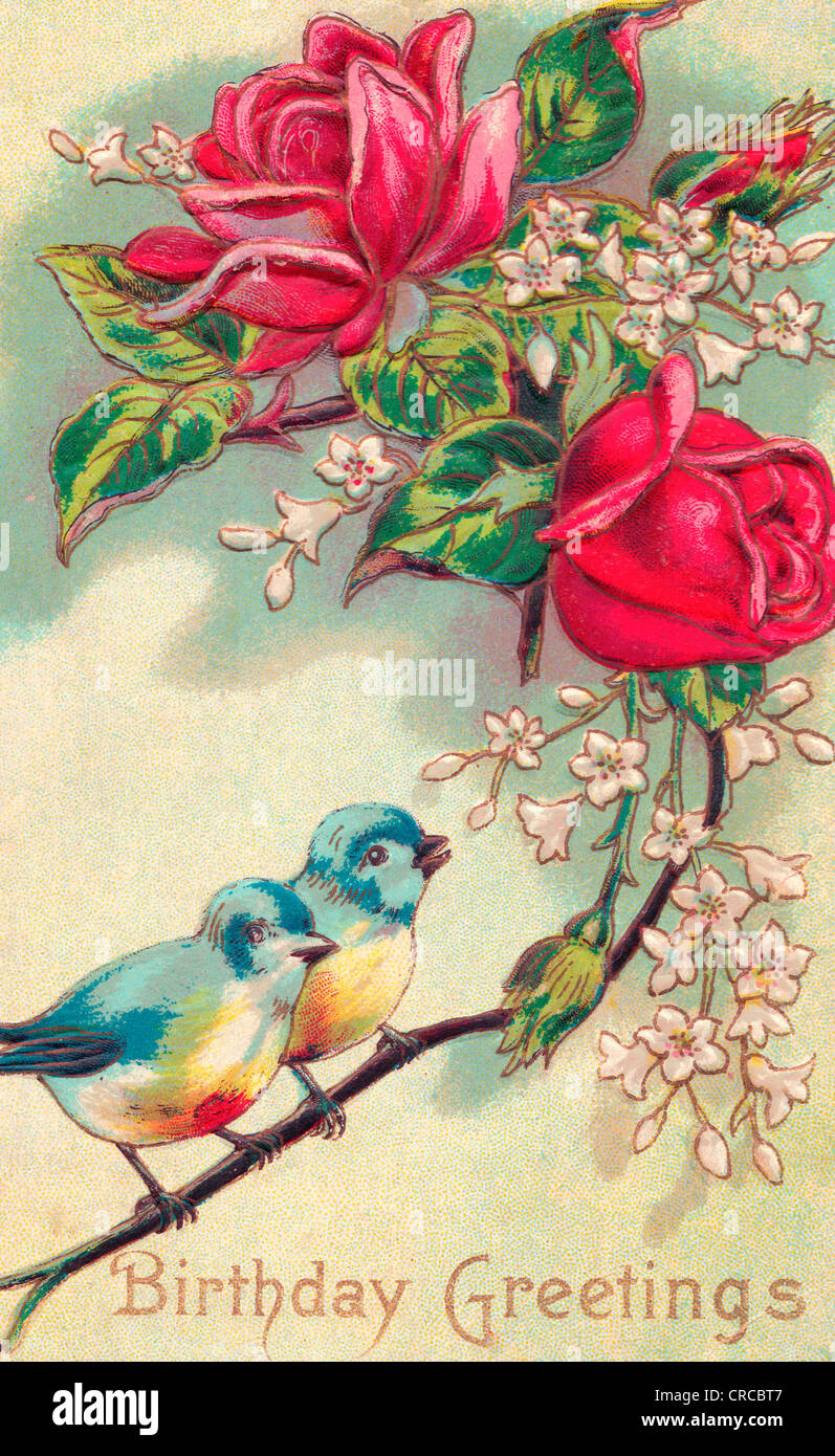 Voeux D Anniversaire Carte Anniversaire Vintage Photo Stock Alamy
