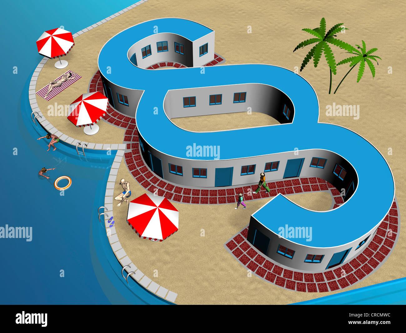 Paragraphe symbole, plage, illustration, image symbolique de la loi voyage Banque D'Images
