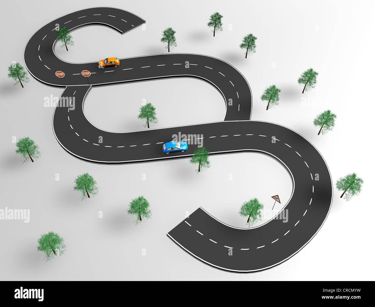Les voitures sur une route, en forme de l'article signe, illustration, image symbolique pour le droit de la circulation routière Banque D'Images