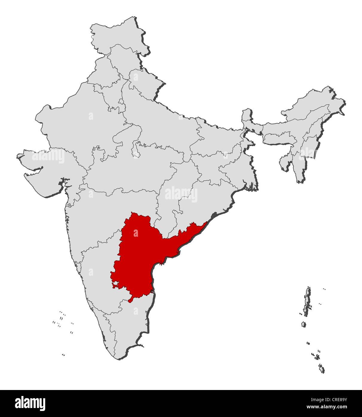 Carte politique de l'Inde avec les divers États où l'Andhra Pradesh est mis en évidence. Photo Stock