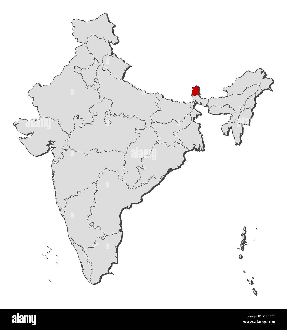 Carte Inde Sikkim.Carte Politique De L Inde Avec Les Divers Etats Ou Le Sikkim Est Mis