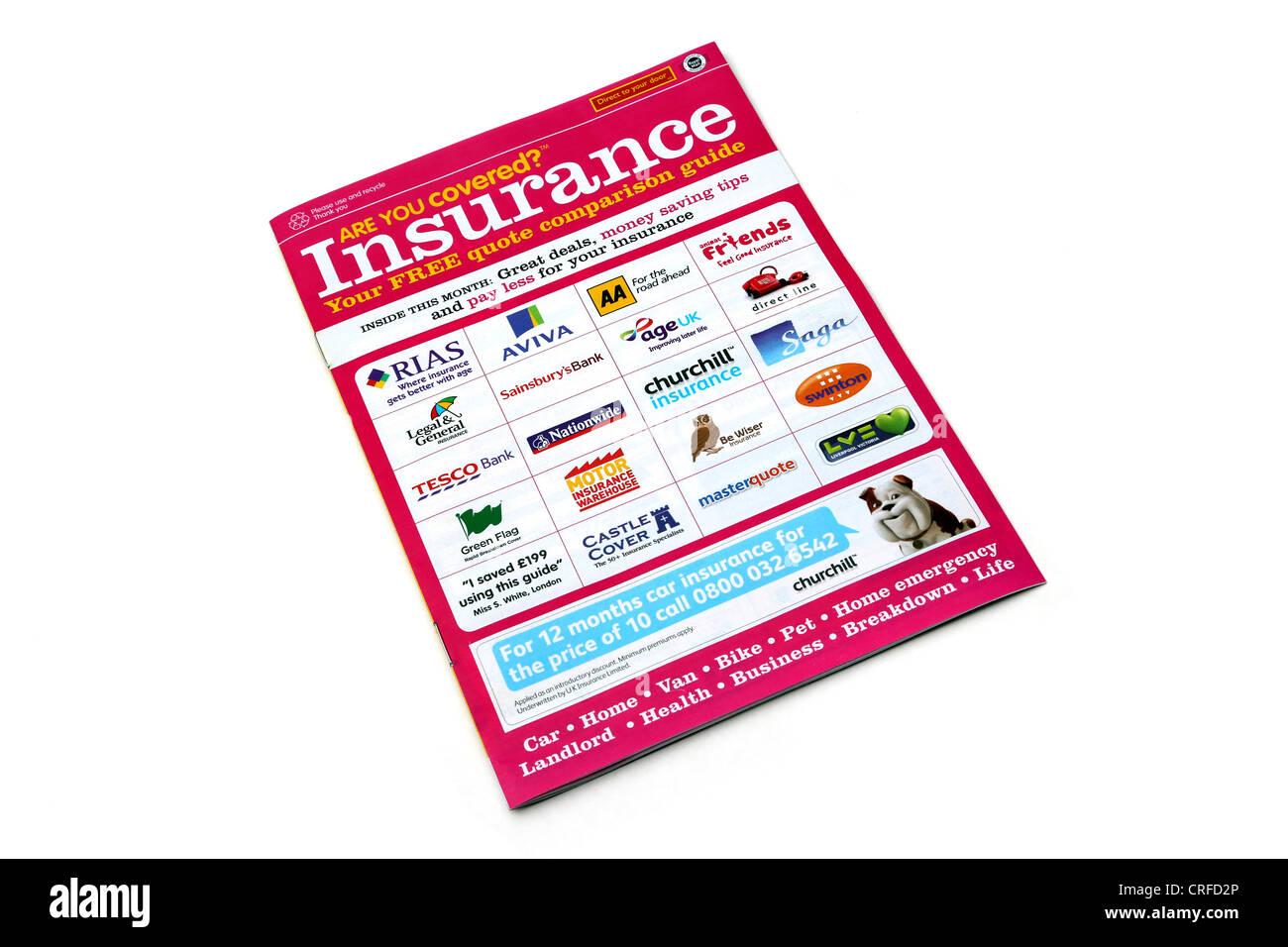 Une Brochure Guide de comparaison des compagnies d'assurance de la publicité Photo Stock