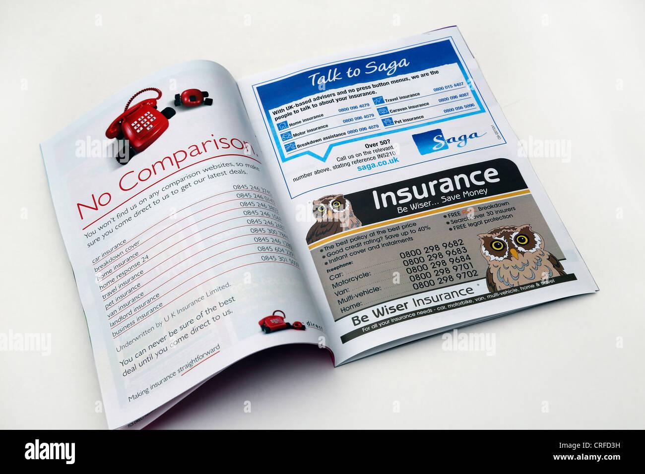 Une brochure faisant la publicité des compagnies d'assurance Photo Stock