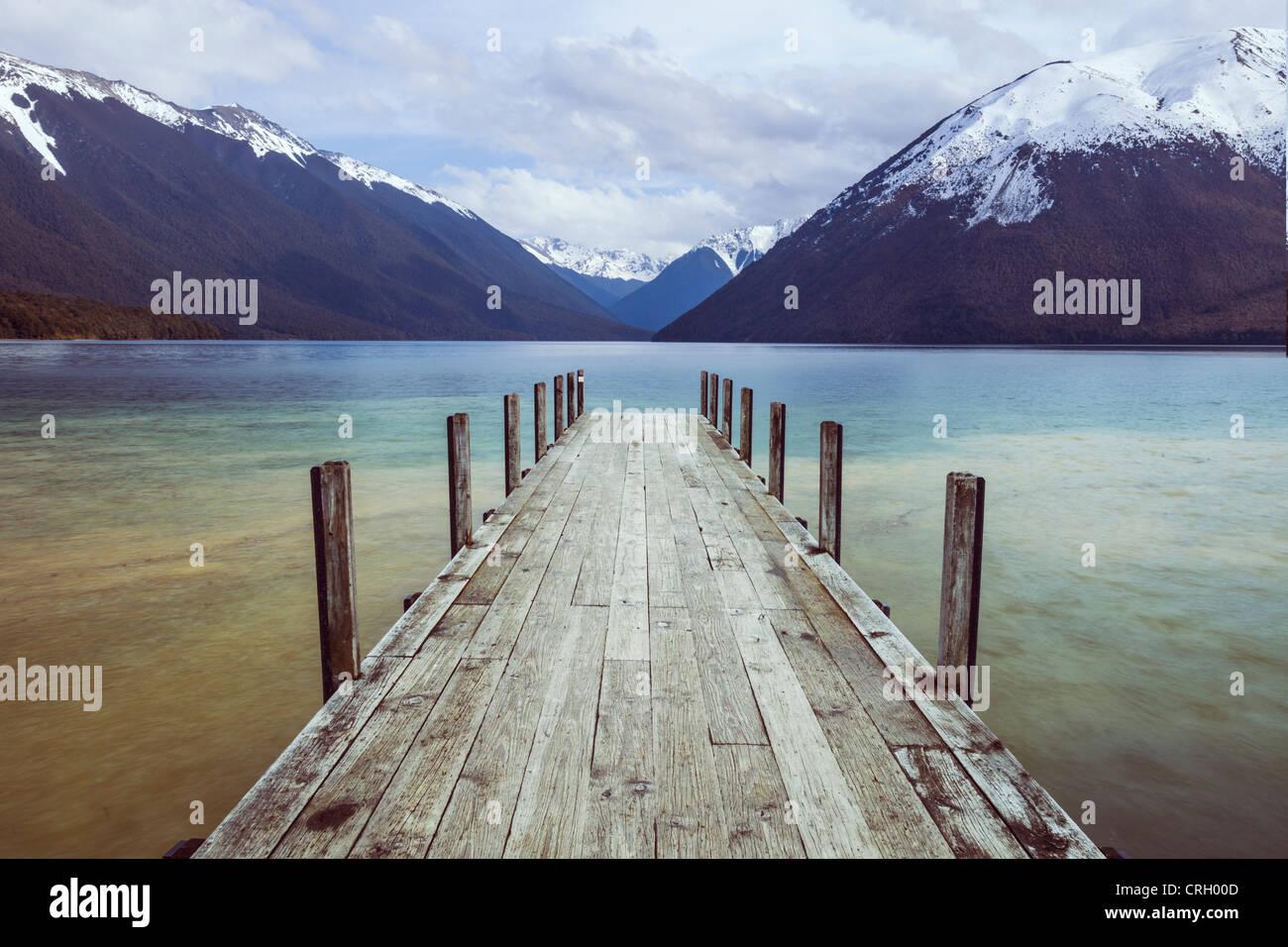 L'ancienne jetée de Lac Rotoiti, Nelson Lakes National Park, New Zealand. Photo Stock
