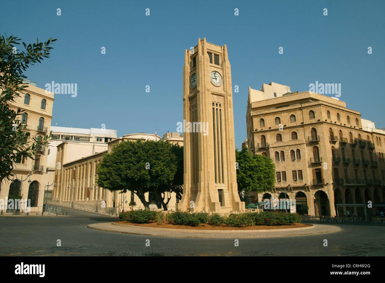 Tour de l'horloge au centre-ville, le Liban, Beyrouth Banque D'Images