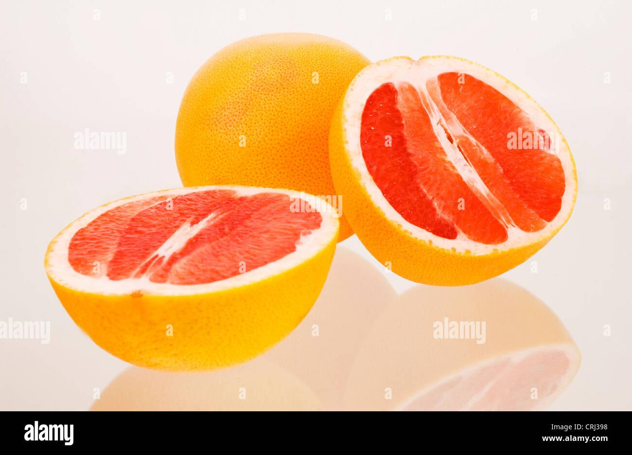 Le lycopène antioxydant Les agrumes Citrus paradisi Denrée alimentaire demi Pamplemousse fruits sains Photo Stock