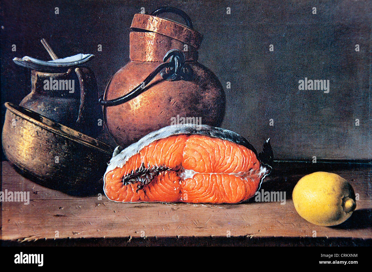 Luis Melendez - Saumon, citron et trois navires (1772) Photo Stock