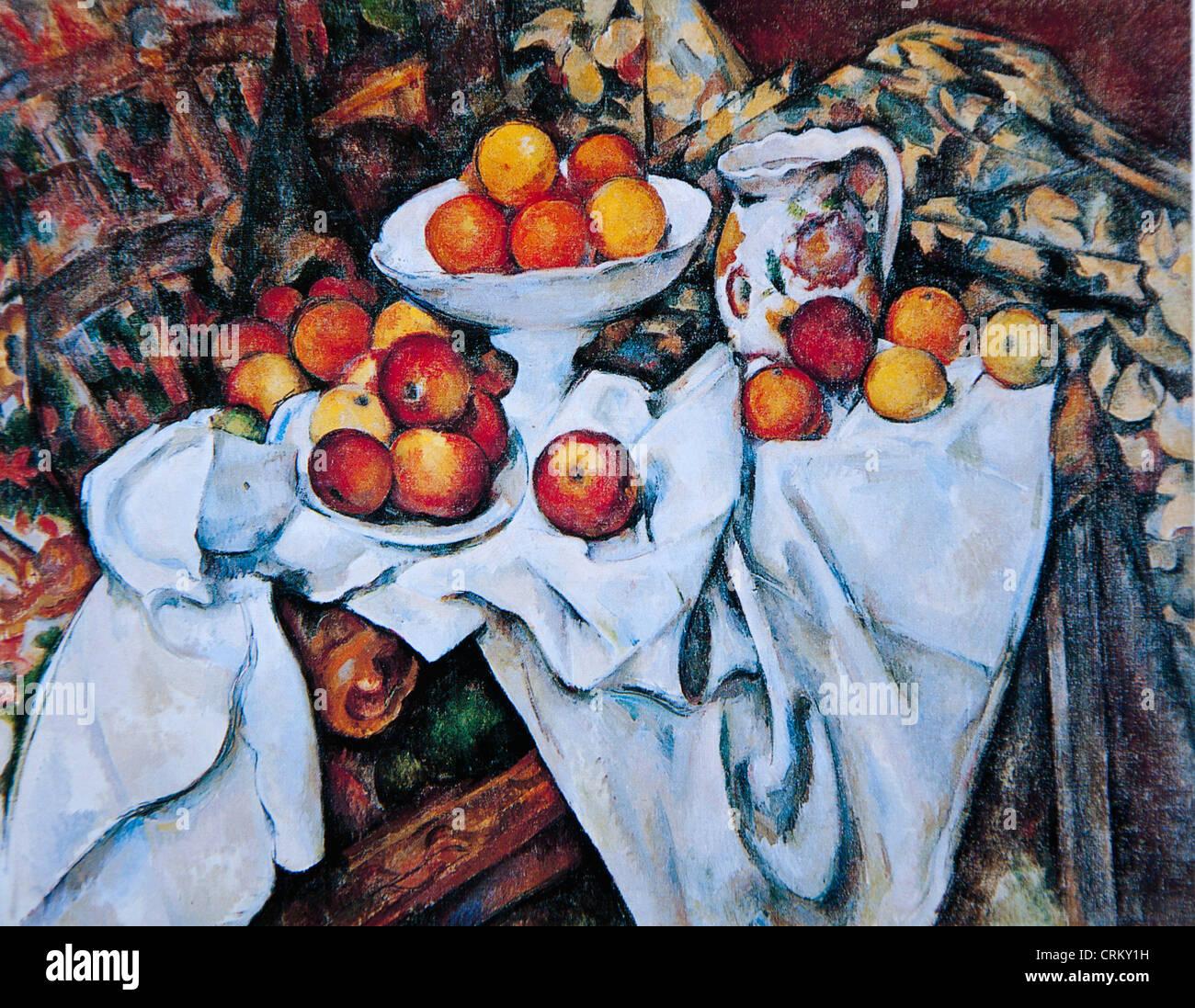 Paul Cézanne - Nature morte avec des pommes et des oranges Photo Stock
