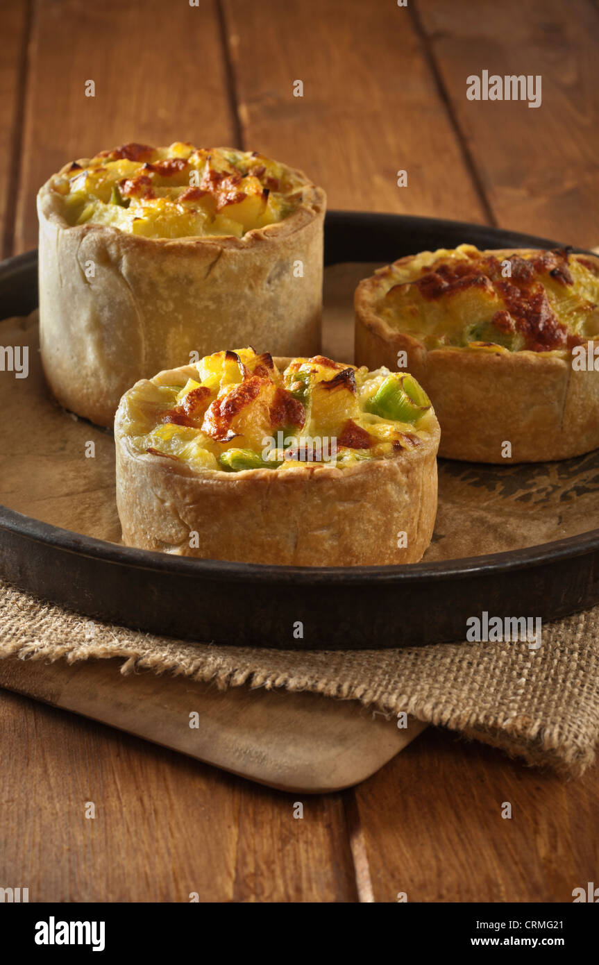 Homity Poireau tarte aux pommes de terre et au fromage tarte aux pommes traditionnelle UK Photo Stock