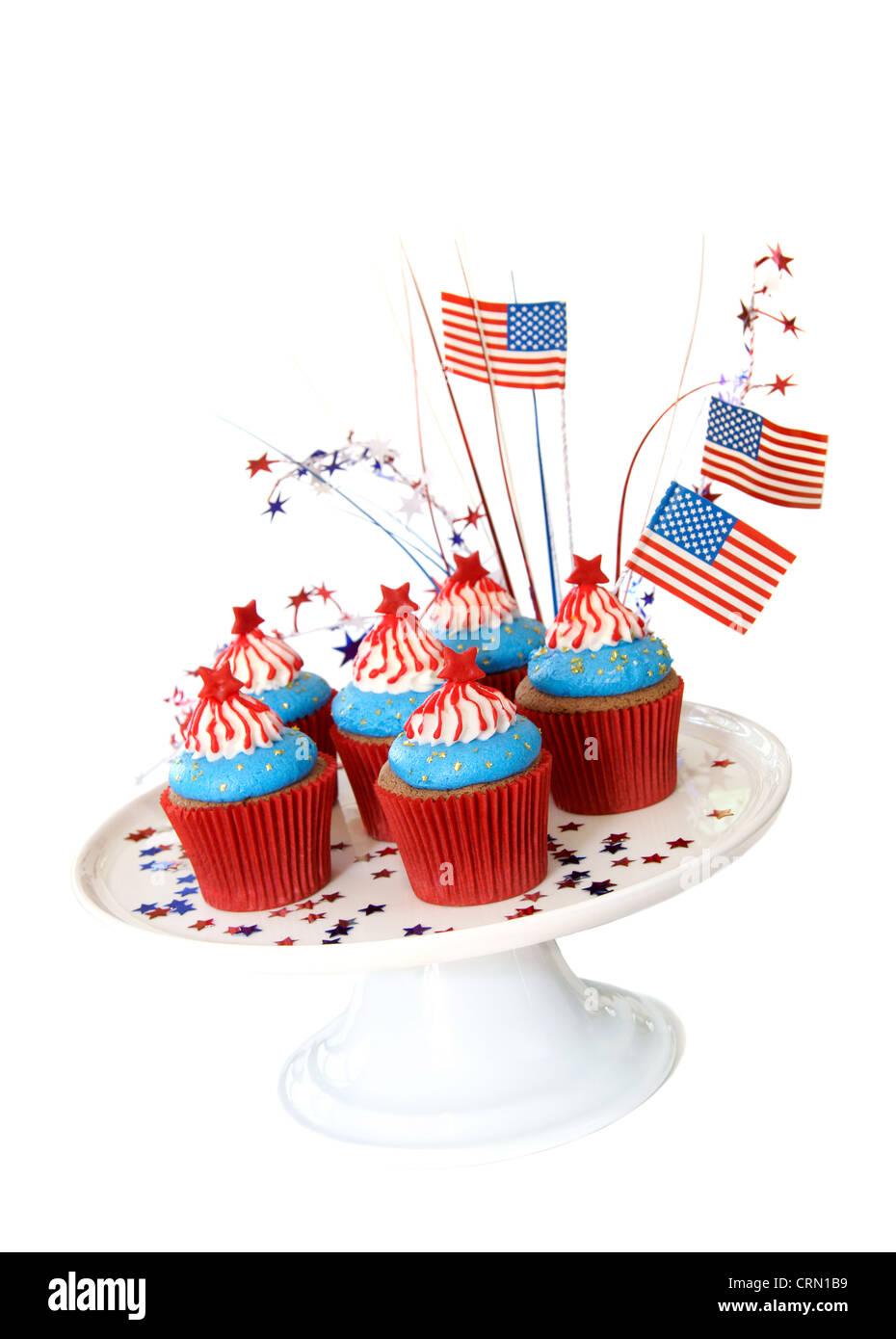 Cupcakes avec thème patriotique américain pour 4e de juillet, fête et d'autres événements en Amérique. Banque D'Images