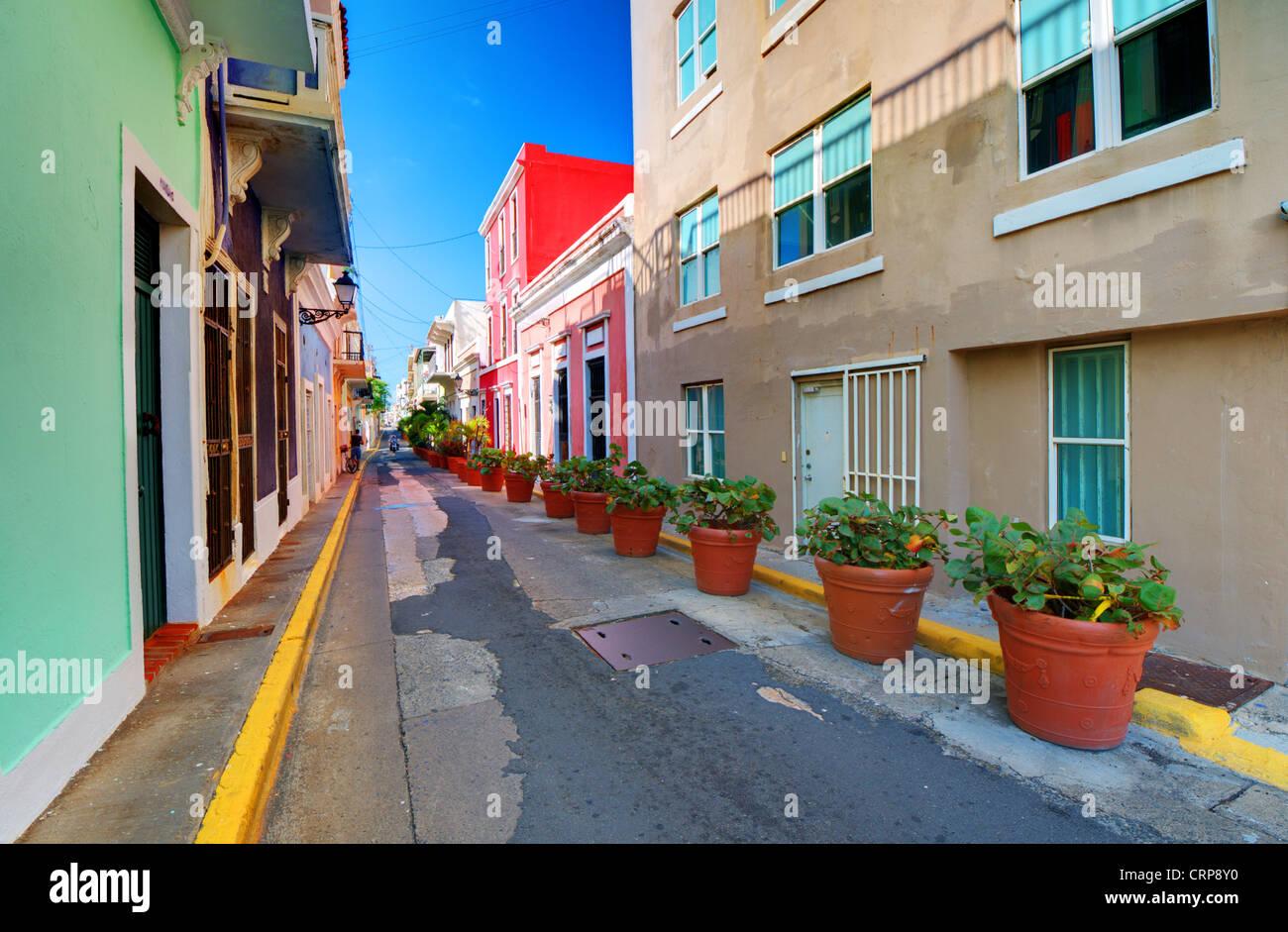 Ruelle de la vieille ville de San Juan, Puerto Rico. Photo Stock