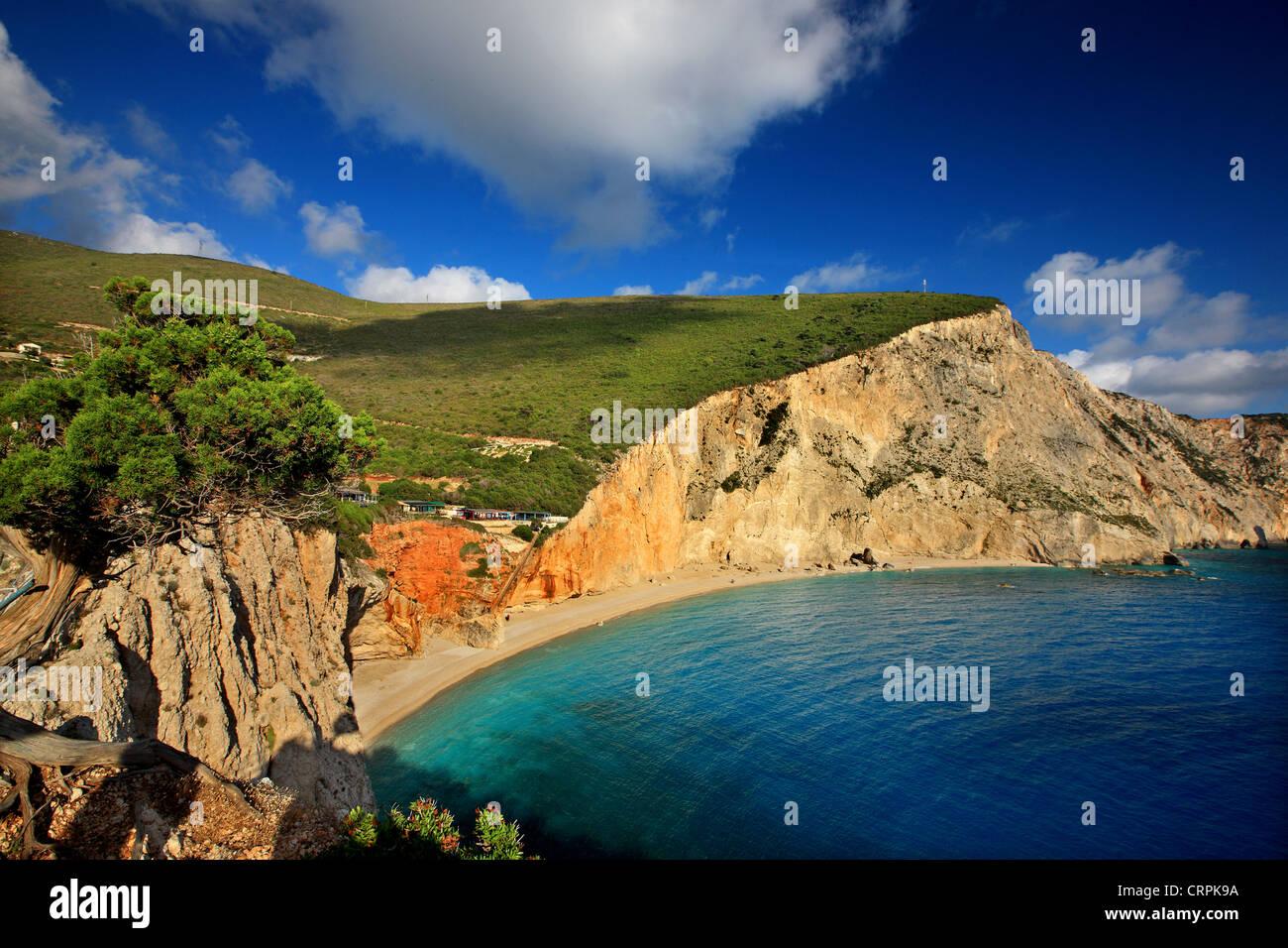 Célèbre plage de Porto Katsiki ('off season'), Leucade (ou 'Athènes'), île de Photo Stock