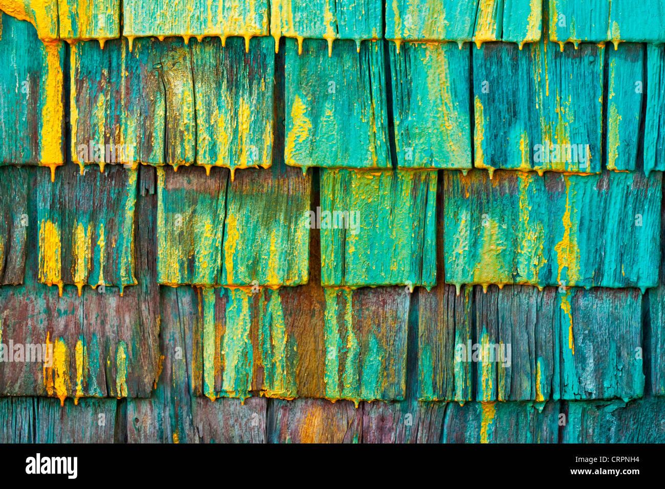 Mur de bardeaux d'un fisherman's shed en Nouvelle-Écosse, Canada. Photo Stock