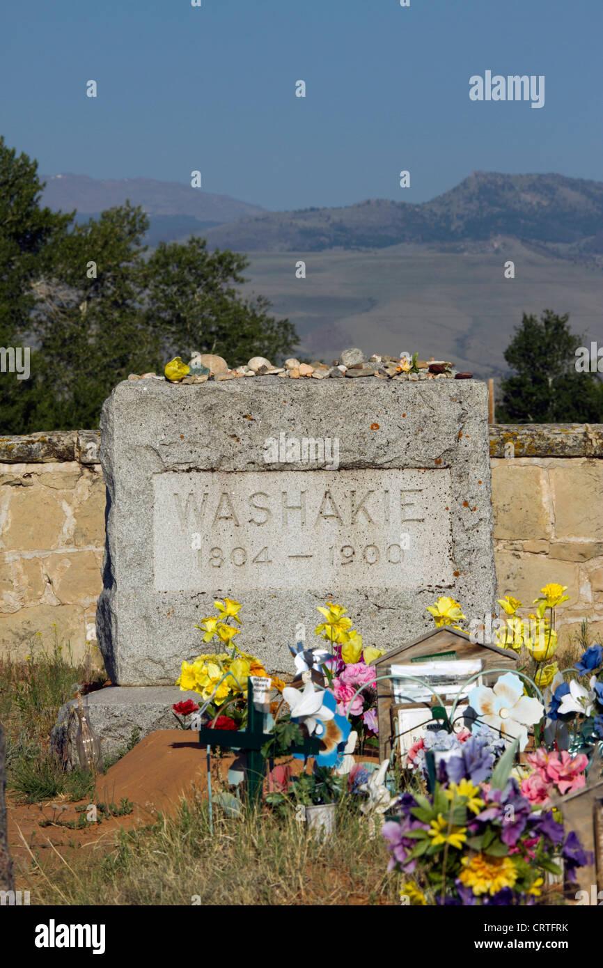 Fort Washakie, Wyoming - tombe de chef Washakie au Fort Washakie cimetière sur la réserve de Wind River, Photo Stock
