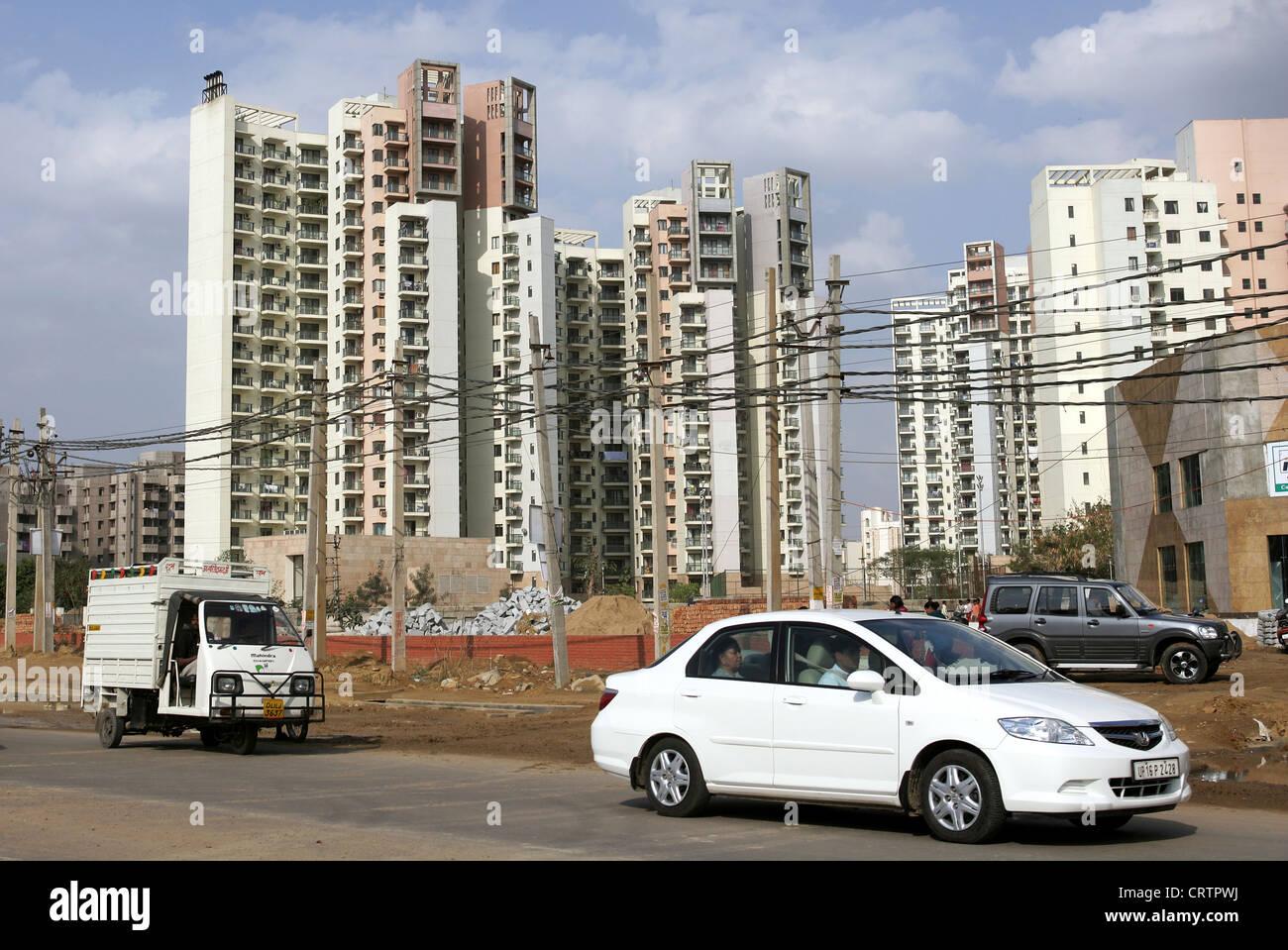De nouveaux bâtiments pour la classe moyenne à New Delhi, Inde Photo Stock