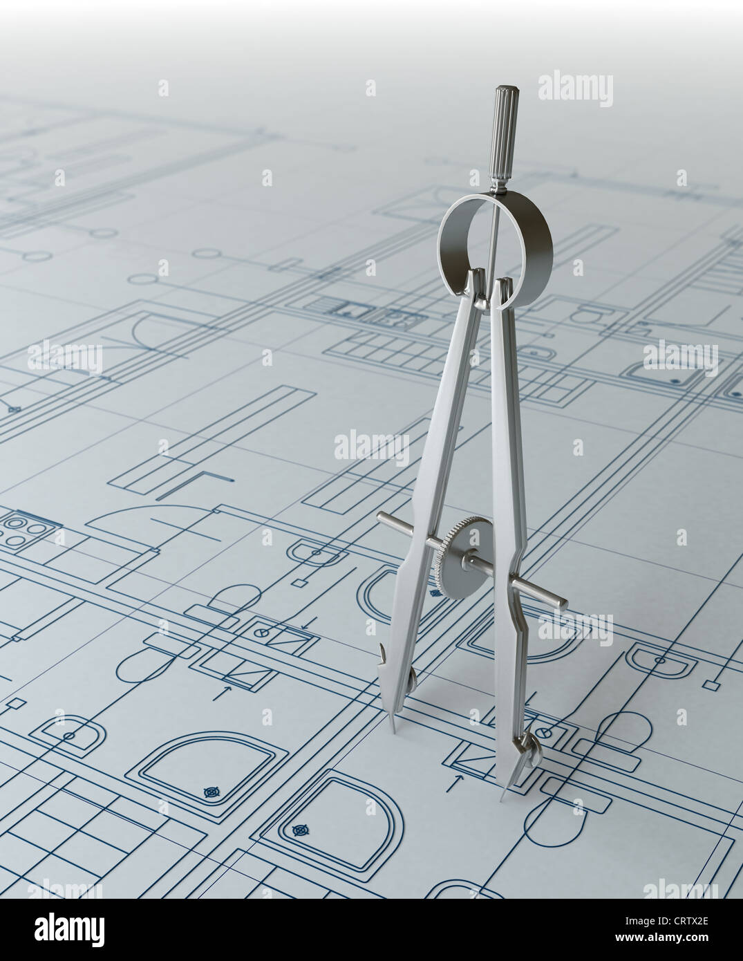 Projet architectural et boussole Photo Stock
